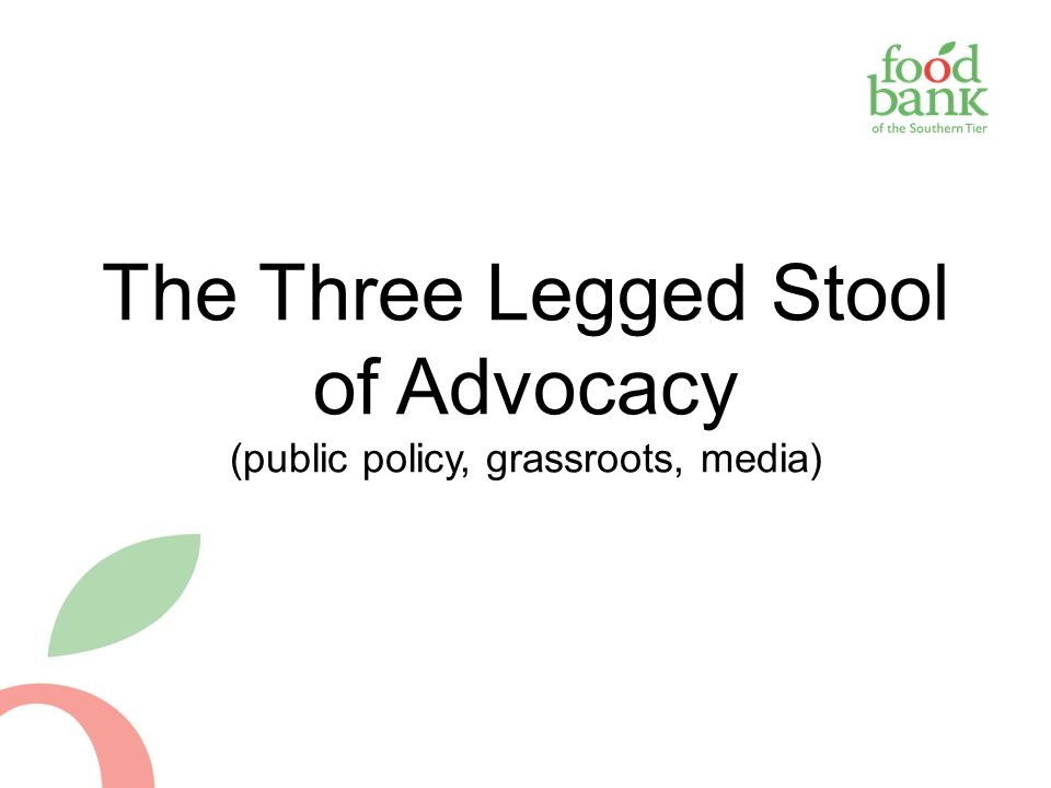 The Three Legged Stool of Advocacy (public policy, grassroots, media)