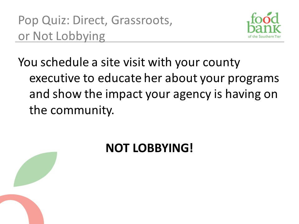 Pop Quiz: Direct, Grassroots, or Not Lobbying