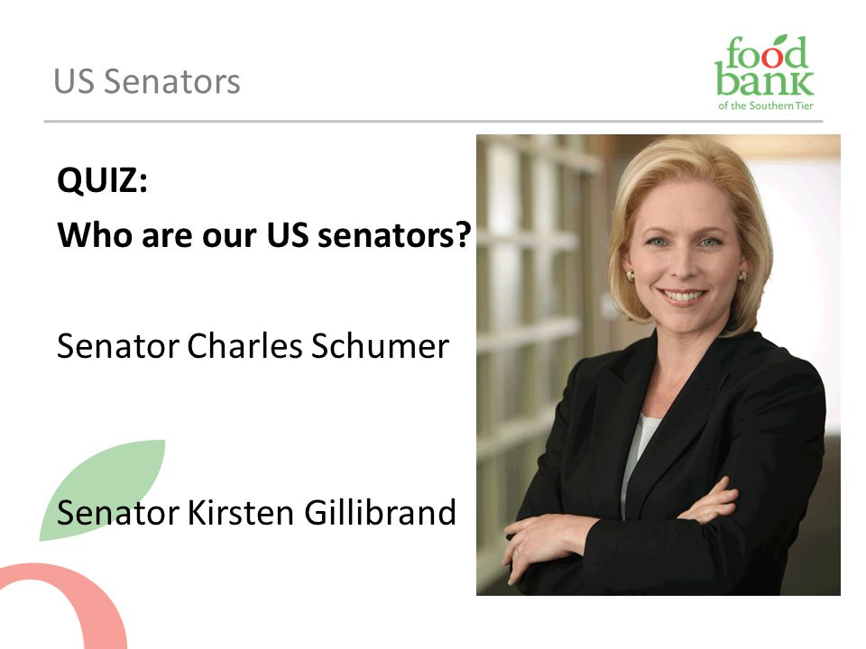 US Senators QUIZ: Who are our US senators Senator Charles Schumer Senator Kirsten Gillibrand
