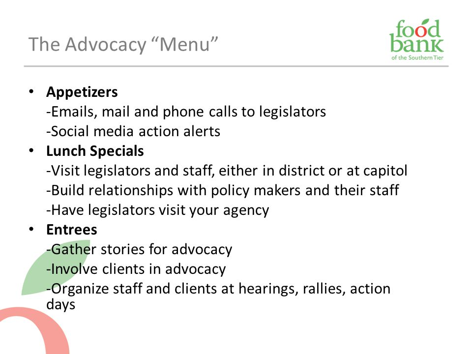 The Advocacy Menu Appetizers
