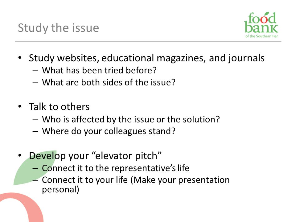 Study the issue Study websites, educational magazines, and journals