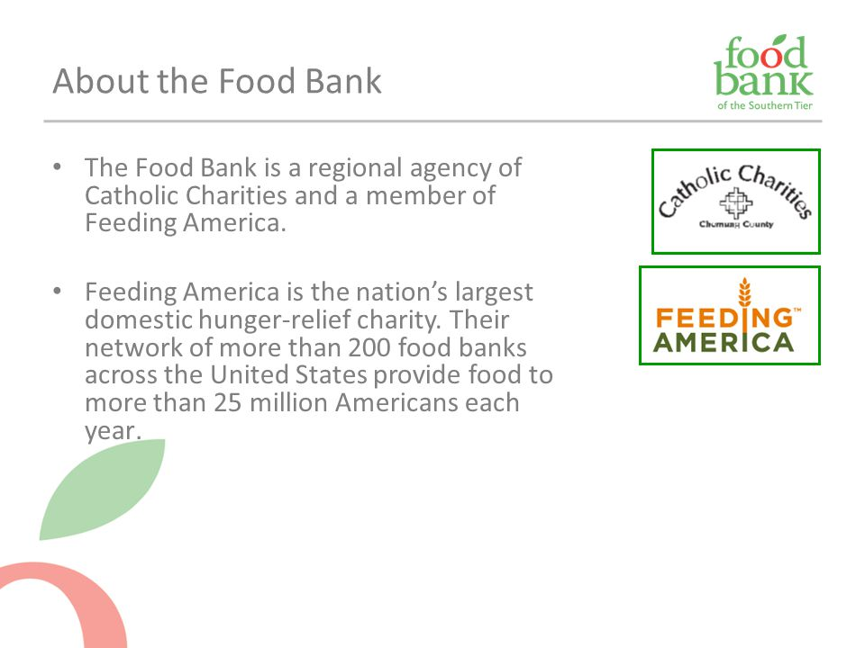 About the Food Bank The Food Bank is a regional agency of Catholic Charities and a member of Feeding America.