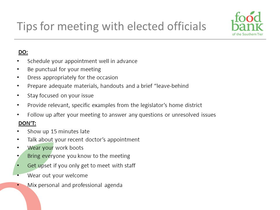 Tips for meeting with elected officials