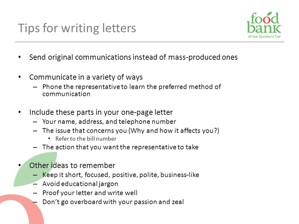 Tips for writing letters