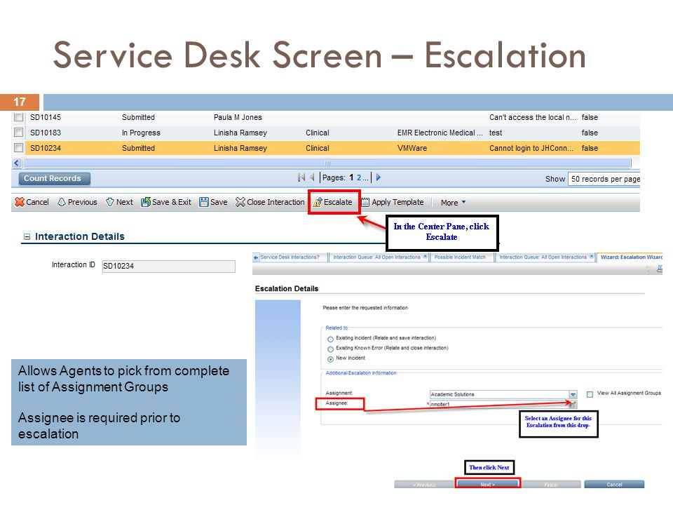 Service Desk Screen – Escalation