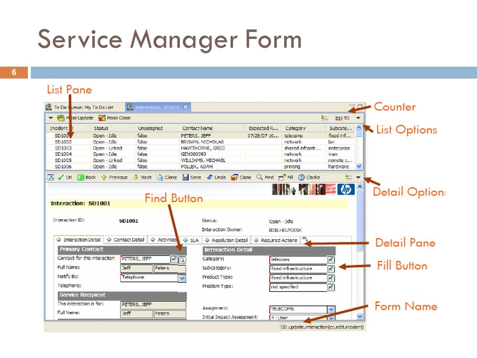 Service Manager Form
