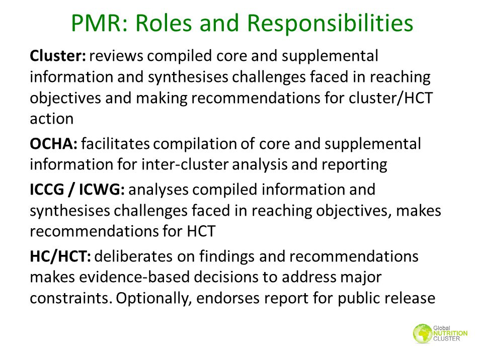 PMR: Roles and Responsibilities