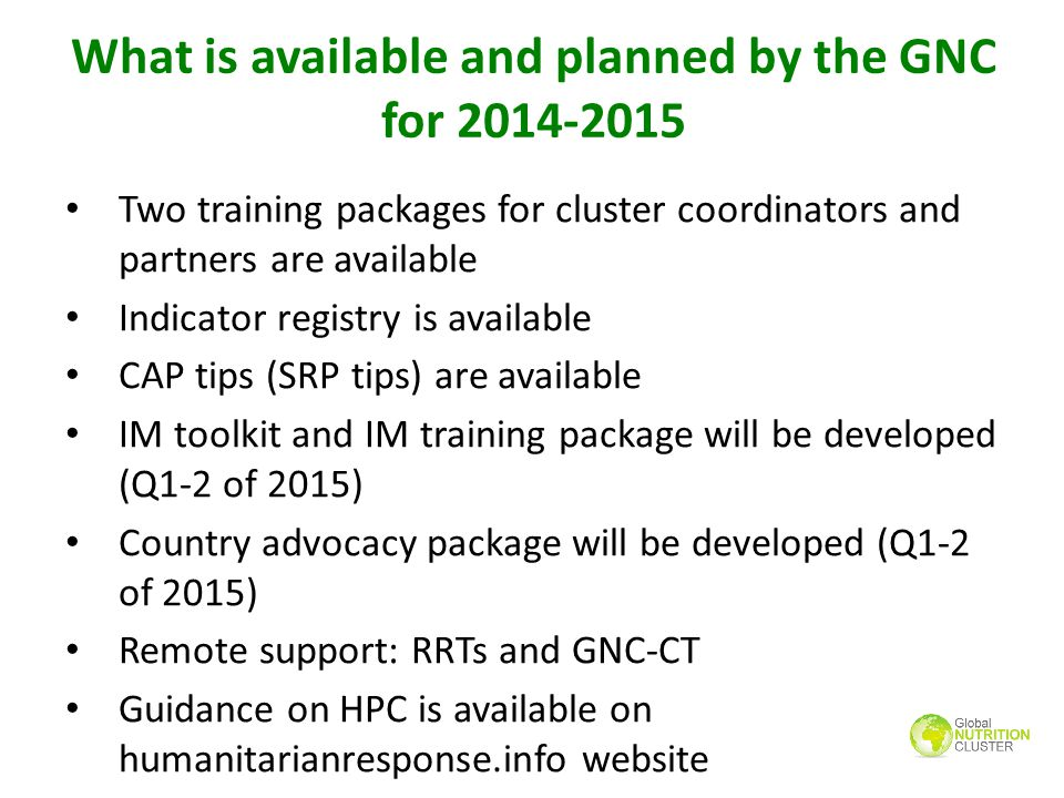 What is available and planned by the GNC for 2014-2015