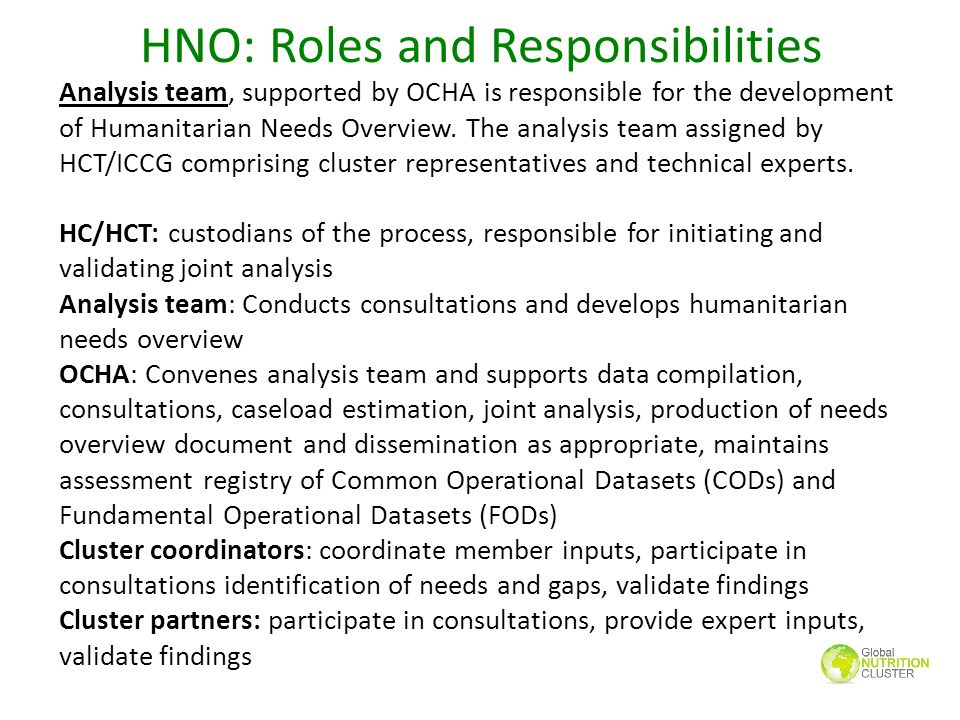 HNO: Roles and Responsibilities