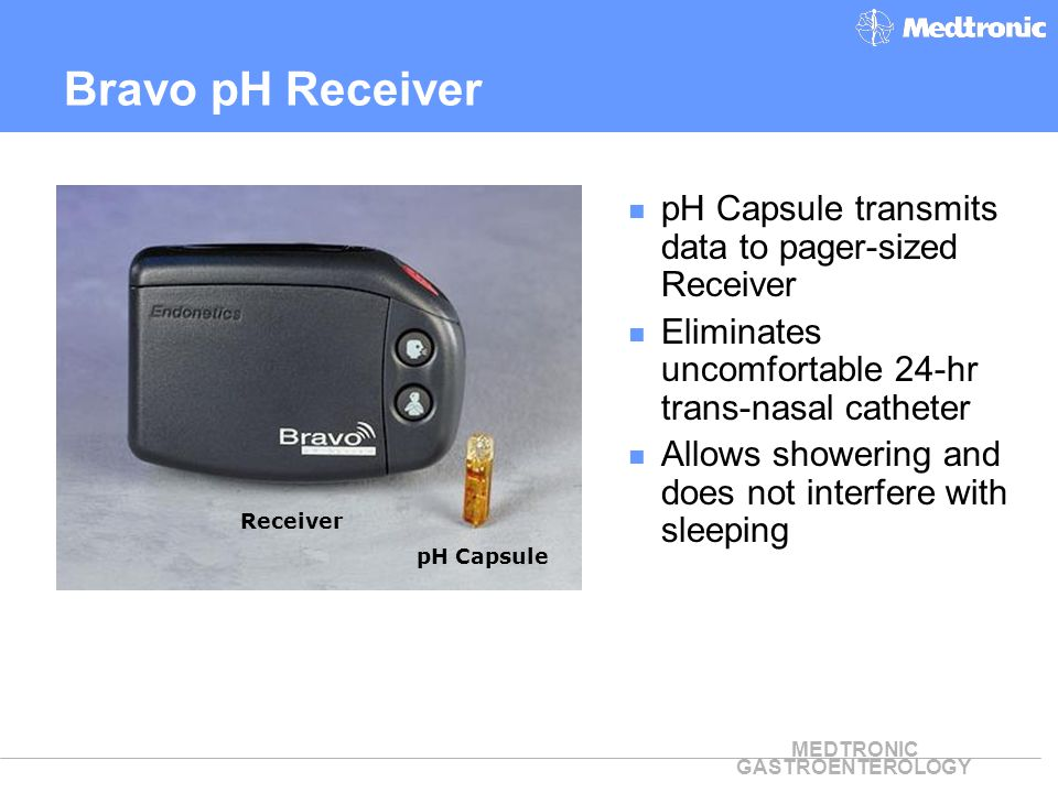 Bravo pH Receiver pH Capsule transmits data to pager-sized Receiver