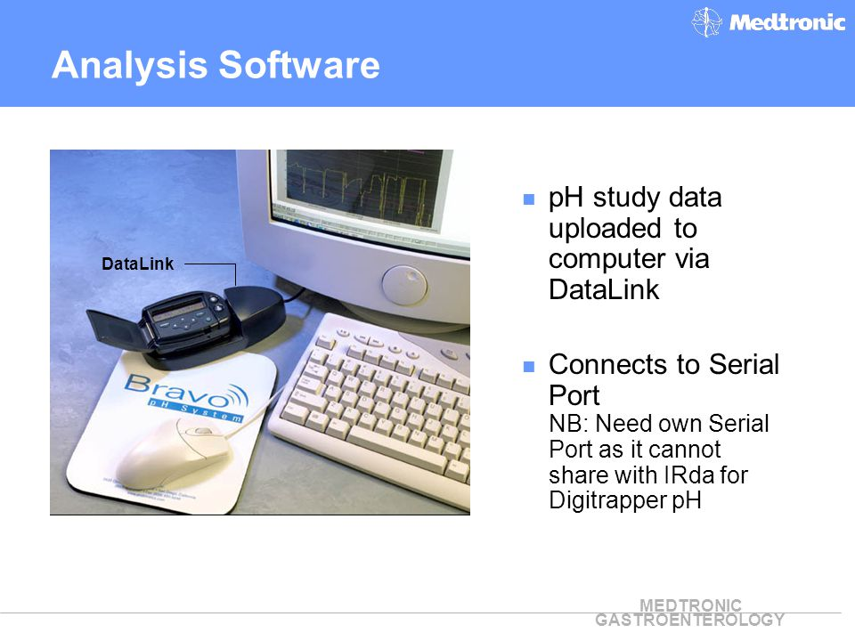 Analysis Software pH study data uploaded to computer via DataLink