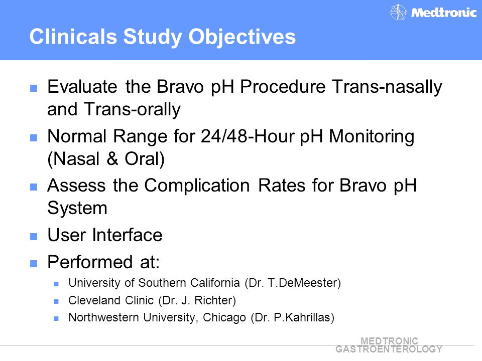 Clinicals Study Objectives