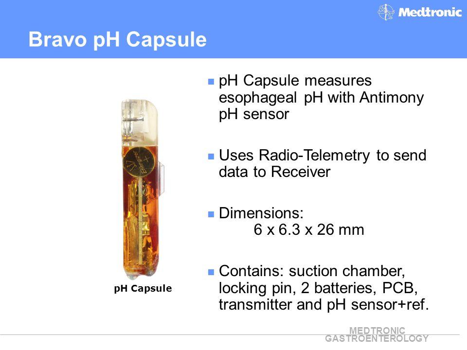 Bravo pH Capsule pH Capsule measures esophageal pH with Antimony pH sensor. Uses Radio-Telemetry to send data to Receiver.