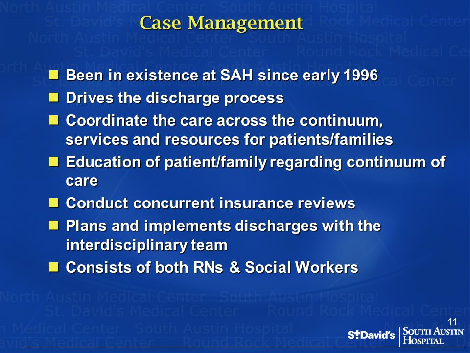 Case Management Been in existence at SAH since early 1996