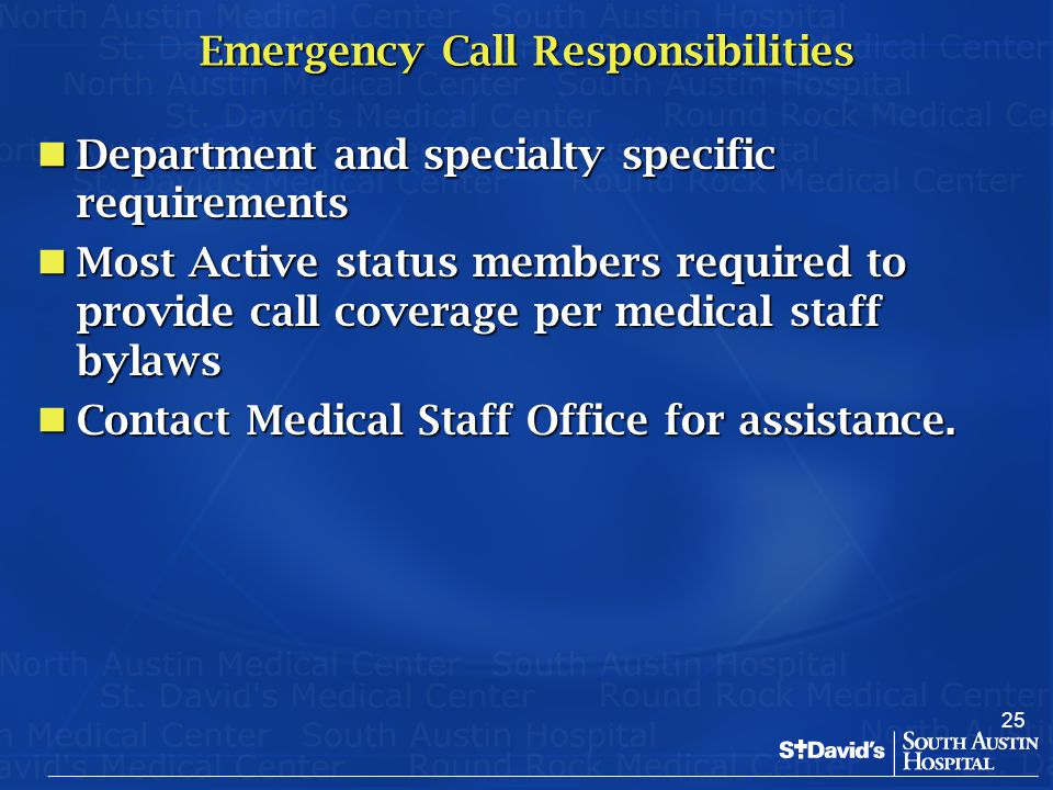 Emergency Call Responsibilities