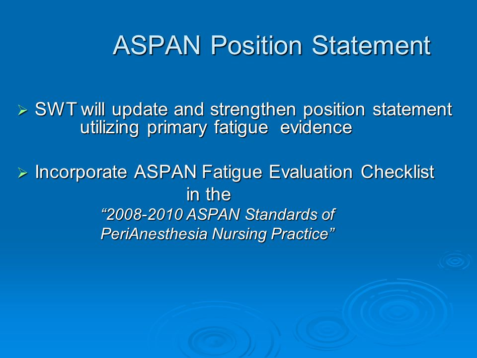 ASPAN Position Statement
