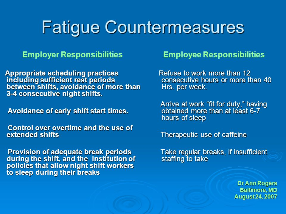 Fatigue Countermeasures