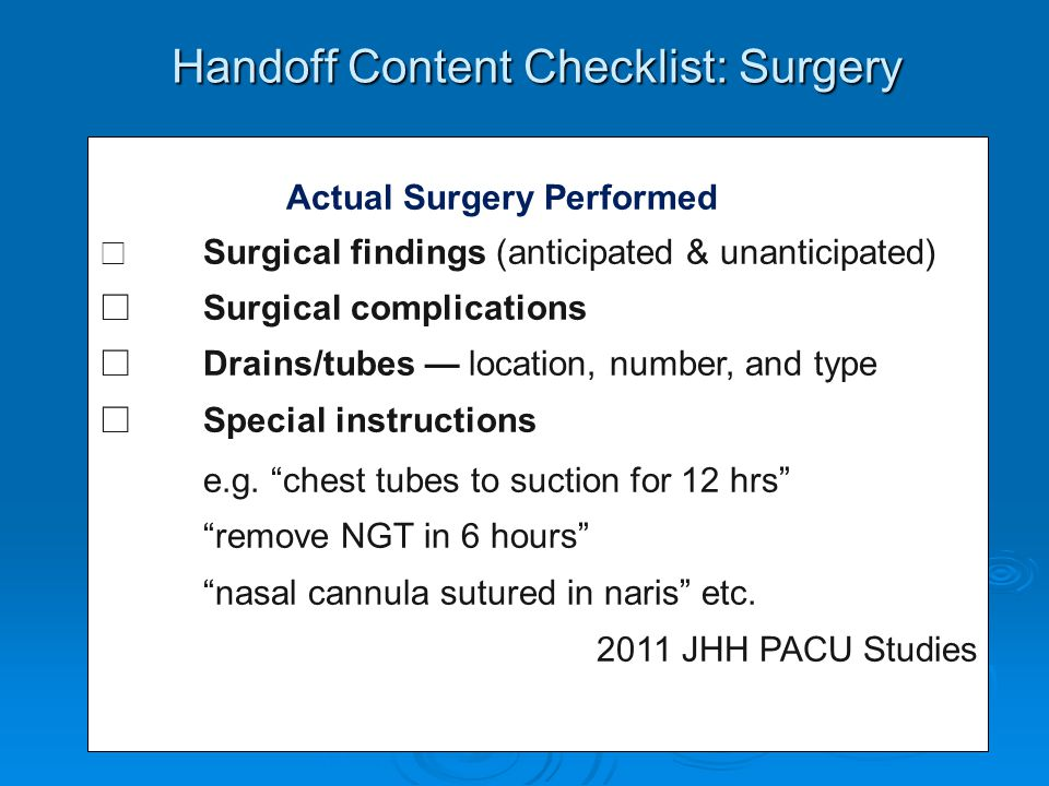 Handoff Content Checklist: Surgery