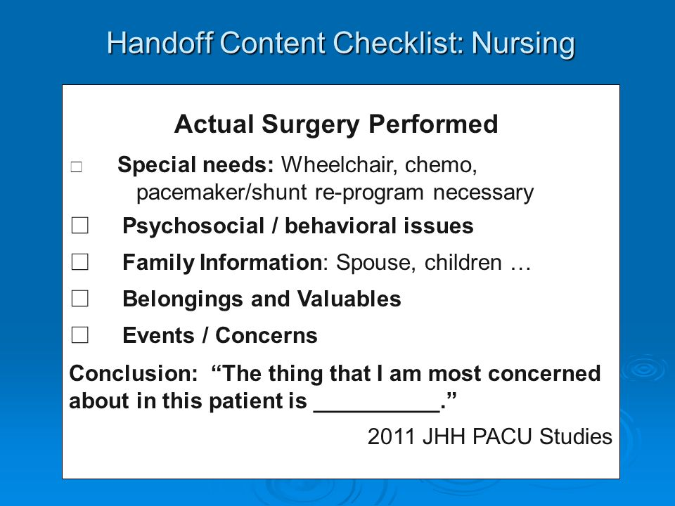 Handoff Content Checklist: Nursing