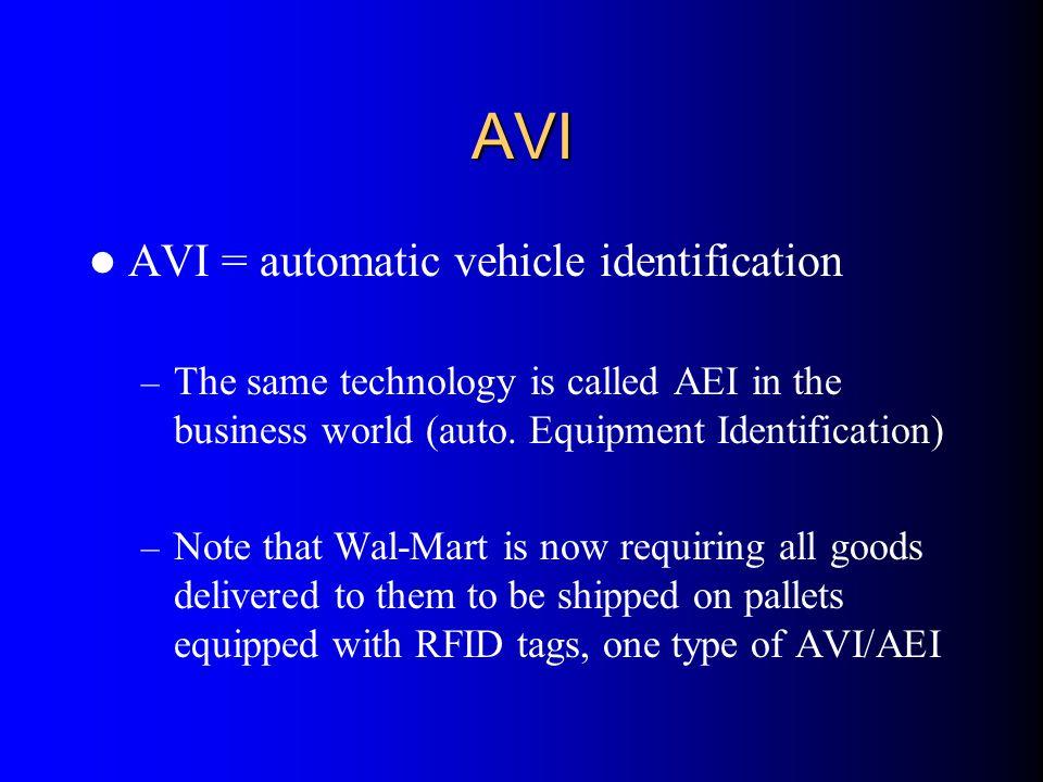 AVI AVI = automatic vehicle identification