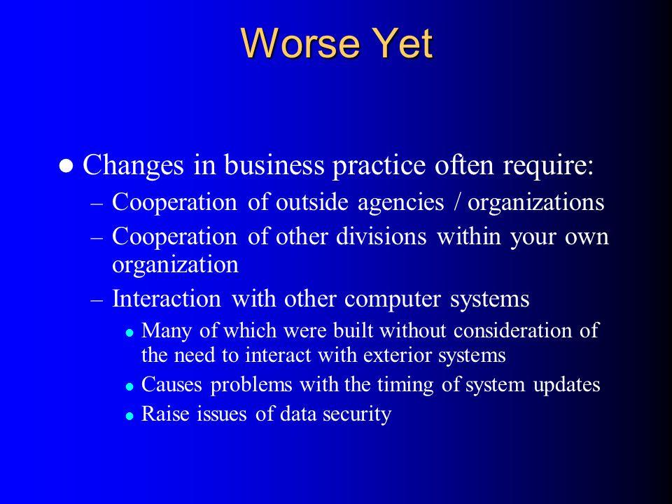 Worse Yet Changes in business practice often require: