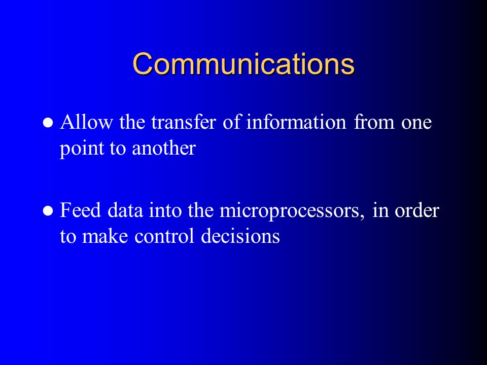 Communications Allow the transfer of information from one point to another.
