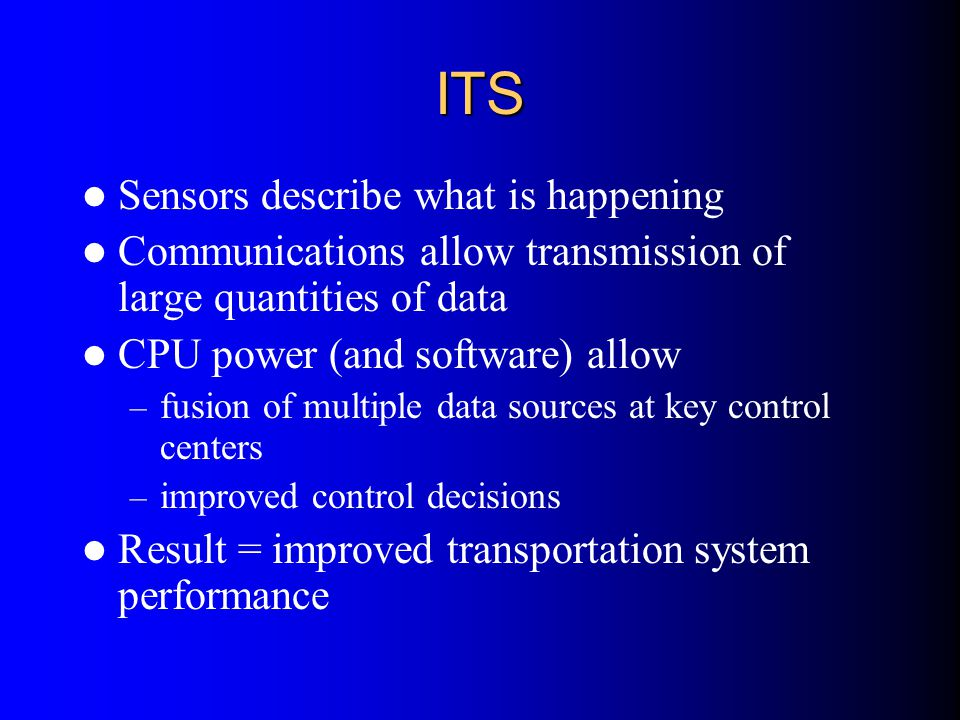 ITS Sensors describe what is happening
