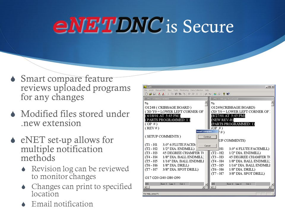 eNETDNC is Secure Smart compare feature reviews uploaded programs for any changes. Modified files stored under .new extension.