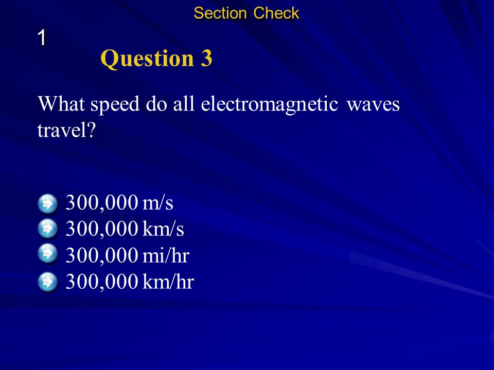 Question 3 1 What speed do all electromagnetic waves travel
