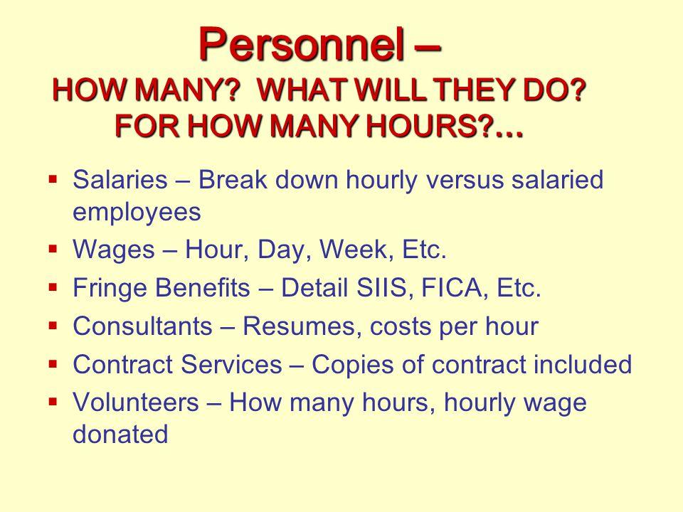 Personnel – HOW MANY WHAT WILL THEY DO FOR HOW MANY HOURS …