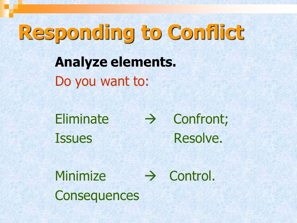 Responding to Conflict