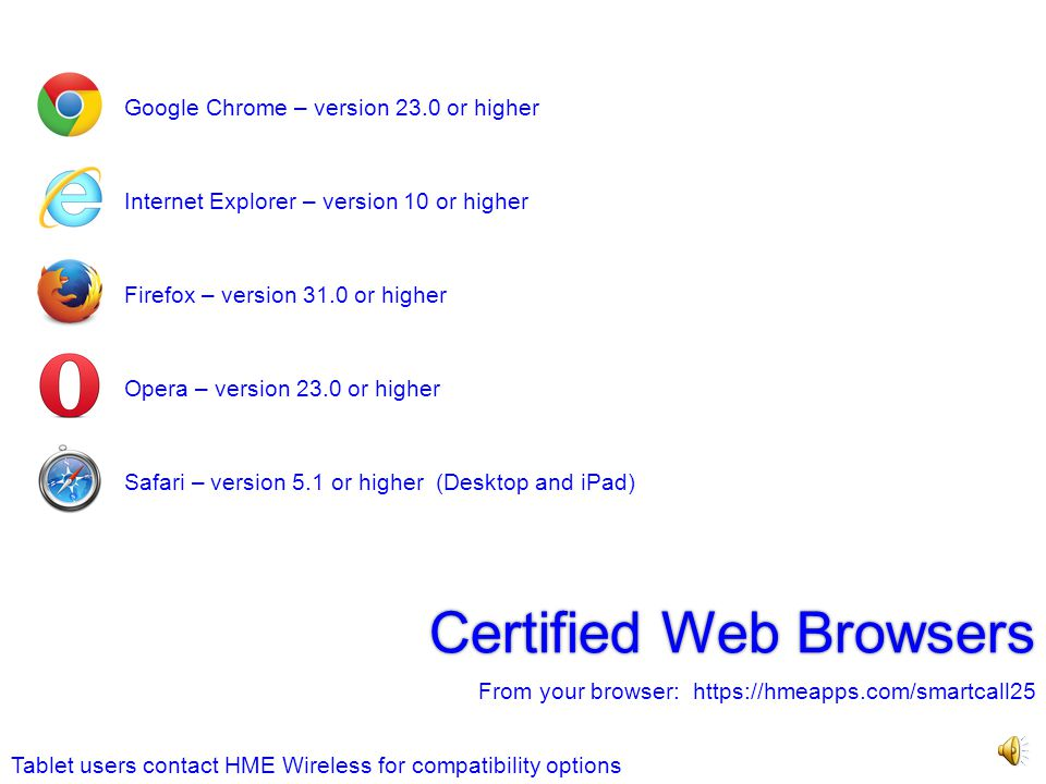 Certified Web Browsers