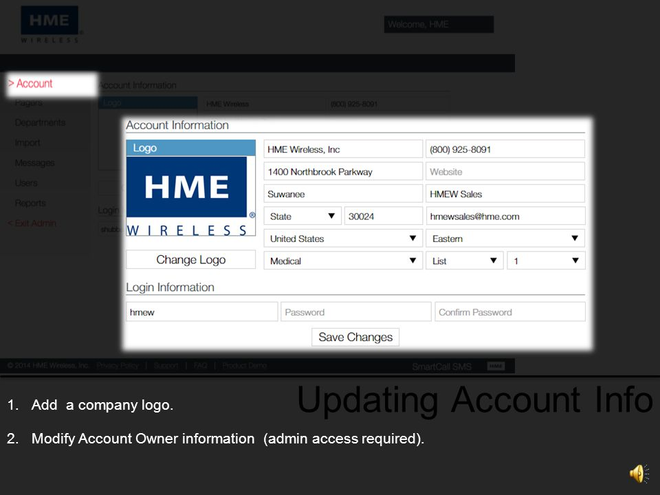 Updating Account Info Add a company logo.