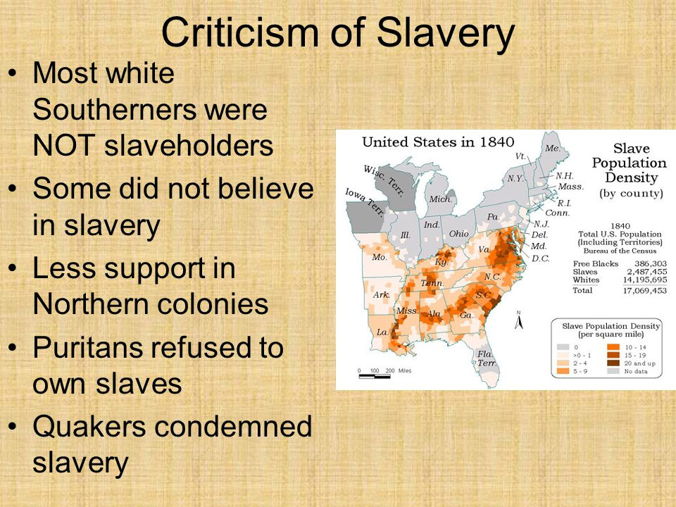 Criticism of Slavery Most white Southerners were NOT slaveholders