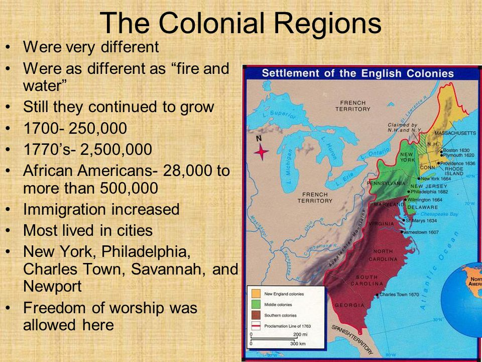 The Colonial Regions Were very different
