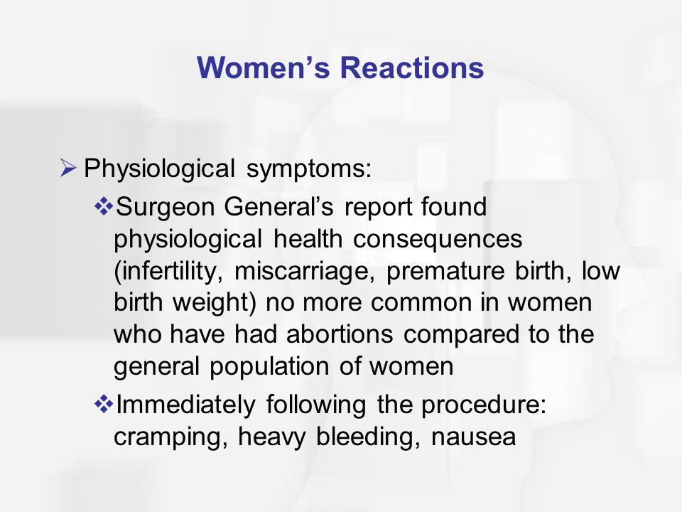 Women's Reactions Physiological symptoms: