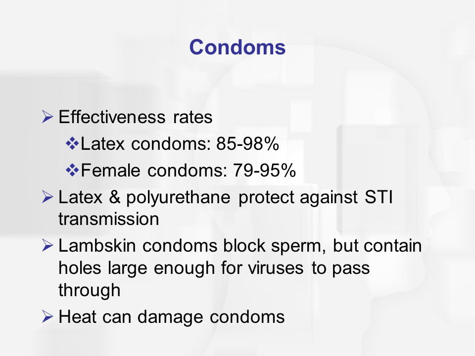 Condoms Effectiveness rates Latex condoms: 85-98%