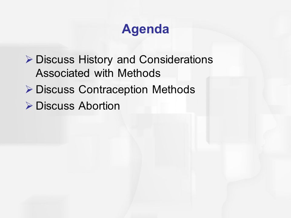 Agenda Discuss History and Considerations Associated with Methods