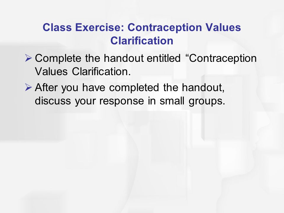 Class Exercise: Contraception Values Clarification