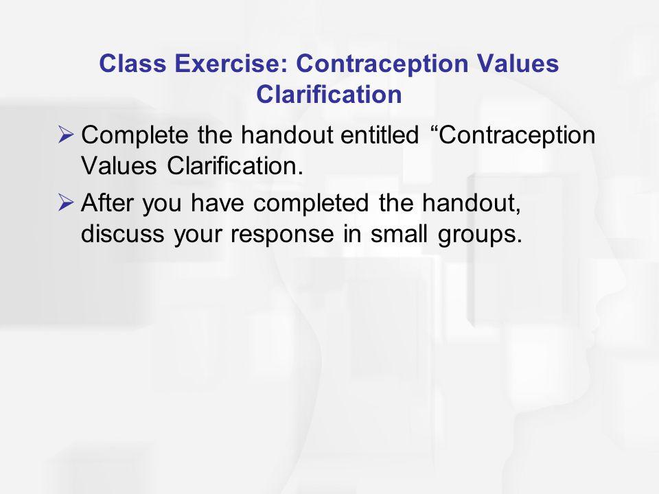 Class Exercise: Contraception Values Clarification