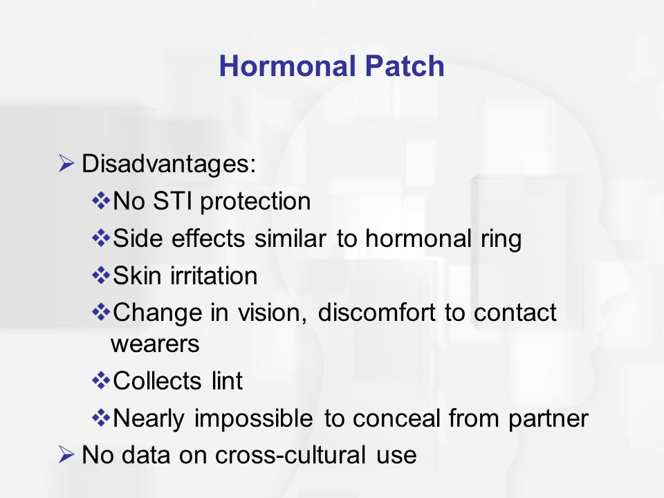 Hormonal Patch Disadvantages: No STI protection