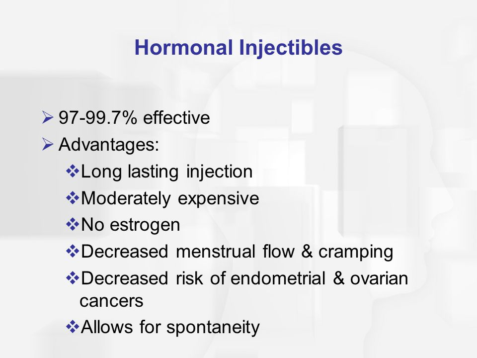 Hormonal Injectibles 97-99.7% effective Advantages: