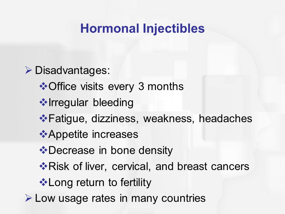 Hormonal Injectibles Disadvantages: Office visits every 3 months
