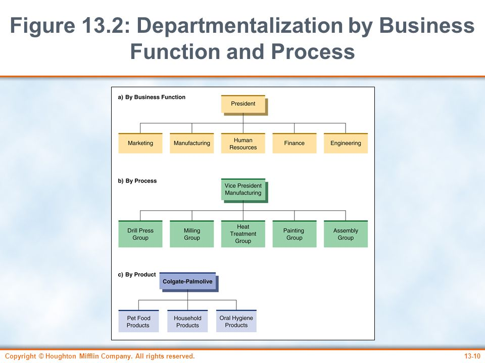 Figure 13.2: Departmentalization by Business Function and Process