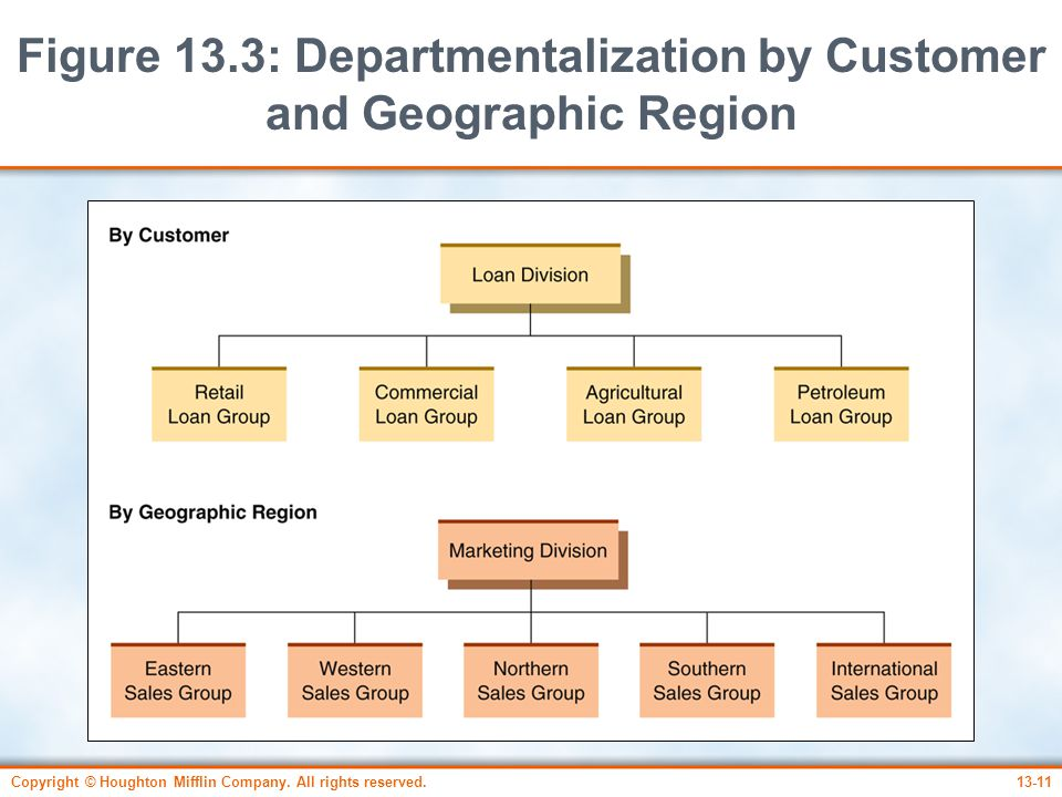 Figure 13.3: Departmentalization by Customer and Geographic Region