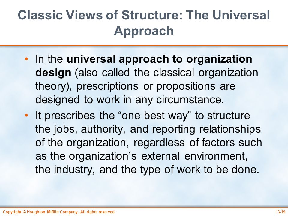 Classic Views of Structure: The Universal Approach