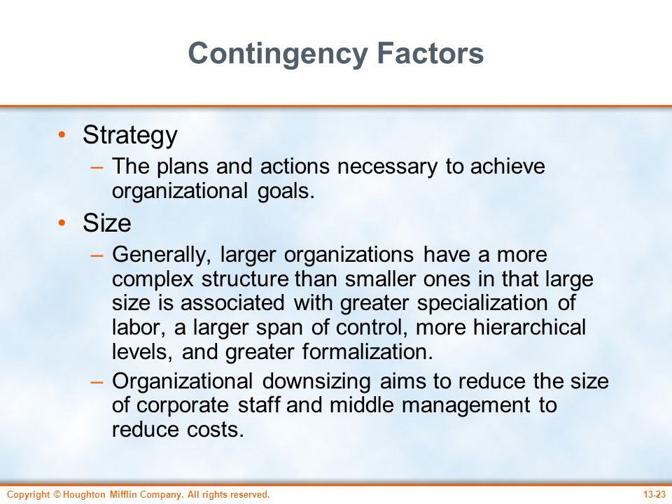 Contingency Factors Strategy Size