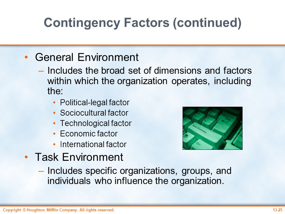 Contingency Factors (continued)