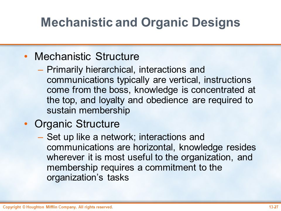 Mechanistic and Organic Designs