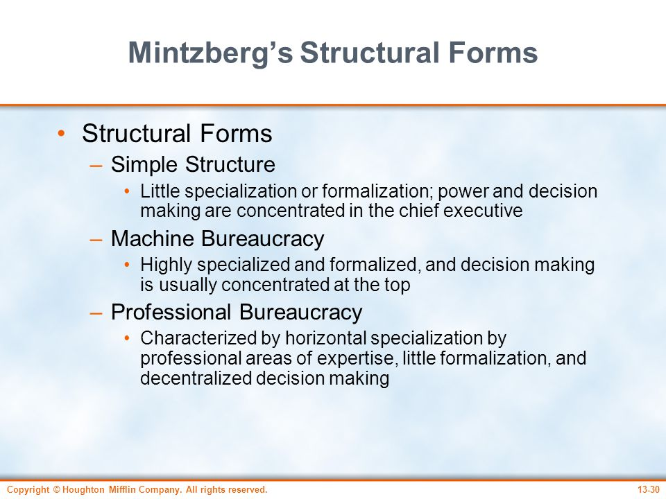 Mintzberg's Structural Forms